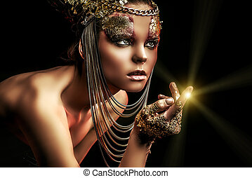 theatrical - Art project: beautiful woman with golden make-...