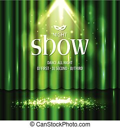 Theatrical background with a green curtain and a scene. Light on a floor. Vector illustration.