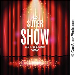 Theatrical background with a red curtain and a scene. Light on a floor. Vector illustration.