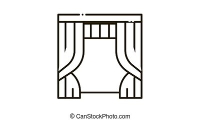 Theatrical Curtain Icon Animation. black Theatrical Curtain animated icon on white background