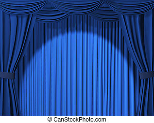 Theatrical curtain of blue color - 3d