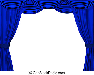 Theatrical curtain of blue color. Object over white