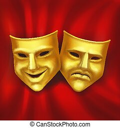 Theatrical gold mask on a red background realistic