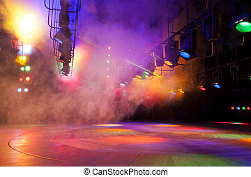 Theatrical light - Stage lights on a console, smoke