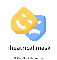 Theatrical mask flat vector illustration. Single object. ...