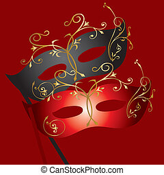 Theatrical Mask - vector image of two theatrical masks on...