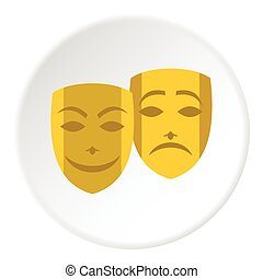 Theatrical masks icon, flat style