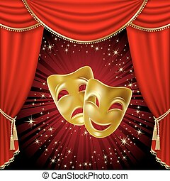 Theatrical masks - Theatrical mask on a red background....