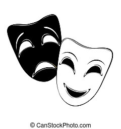 Theatrical mask on a white background.