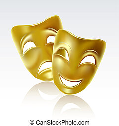 Theatrical mask on a white background. Mesh.