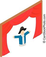 Theatrical performance icon. Isometric illustration of theatrical performance vector icon for web