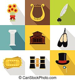 Theatrical performance icons set, flat style - Theatrical...