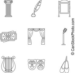 Theatrical performance icons set. Outline illustration of 9 theatrical performance vector icons for web