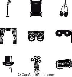 Theatrical performance icons set, simple style - Theatrical...