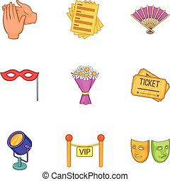 Theatrical performance icons set, cartoon style - Theatrical...