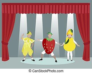 Theatrical performance, masquerade children group. Scene. In minimalist style. Cartoon flat vector illustration