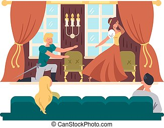Theatrical performance on stage. Actors play drama in theater. Vector illustration