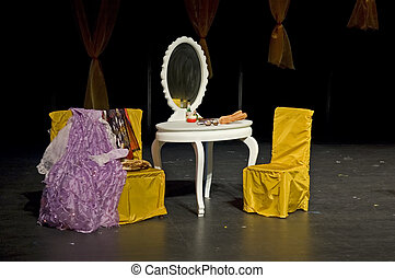 Theatrical properties - The theatrical properties being set...