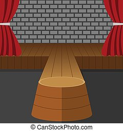 Theatrical Scene Vector. Performance. Stage Podium. Red Velvet Curtains. Event Show. Wooden Floor. Flat Cartoon Illustration for Your Design.