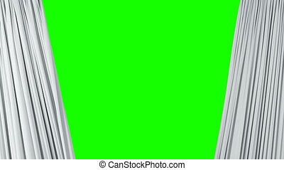 Theatrical White Waving Curtains Opening and Closing on Green Screen. Abstract 3d Animation of Silk Cloth Revealing Background with Alpha Matte. 4k Ultra HD 3840x2160