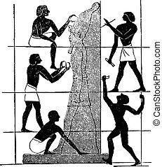 thebes, assassif, beeldhouwers, engraving., schilderij, ...