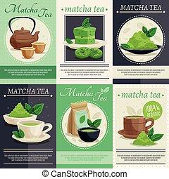 thee, banieren, groene, matcha, mini