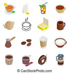 thee koffie, set, iconen