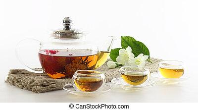 thee, koppen, en, de pot van de thee