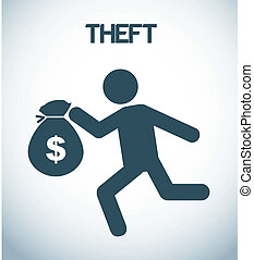 theft design over gray background vector, illustration