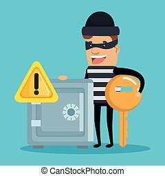 Theft identity avatar character vector illustration design