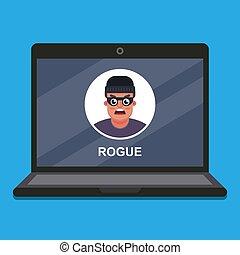 theft., scammer., ordinateur portable, données