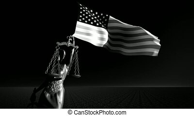 theism with scale, symbol of justice with USA flag background composition