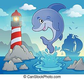 thema, 2, delfin, bild, springende