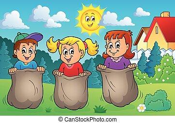 thema, 2, kinderen, beeld, spelend