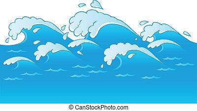 thema, 3, beeld, golven