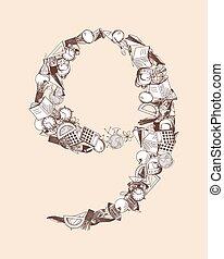 thema, alphabet brief, bildung
