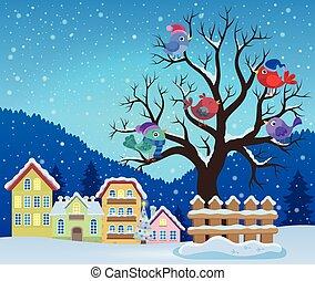 thema, baum winter, vögel