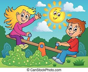thema, beeld, 2, kinderen, seesaw