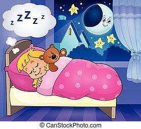 thema, eingeschlafen, 4, bild, kind