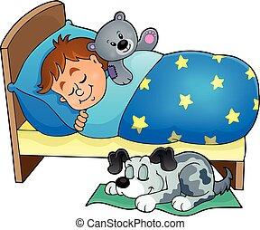 thema, eingeschlafen, 5, bild, kind
