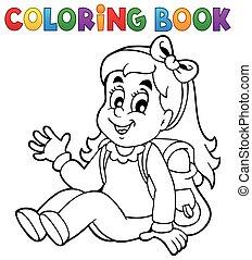 thema, färbung, 5, buch, schüler