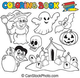thema, färbung, halloween, buch