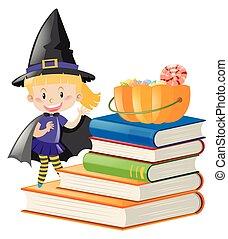 thema, halloween, m�dchen, zuckerl