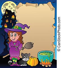 thema, halloween, perkament, 6