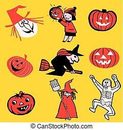 thema, halloween, spotprent
