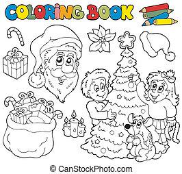 thema, kleurend boek, kerstmis