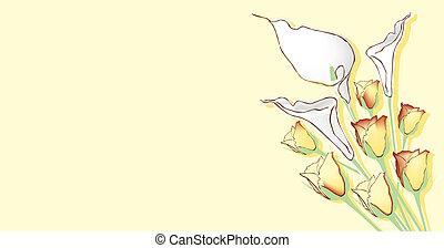 thema, met, bloemen