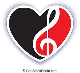 thema, muzikalisch, rood, embleem, black