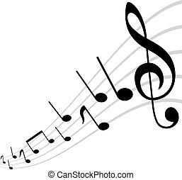 thema, muzikalisch, weerspiegelde