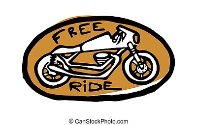 thema, racer., moto, fietser, icon., koffiehuis, witte , gouden